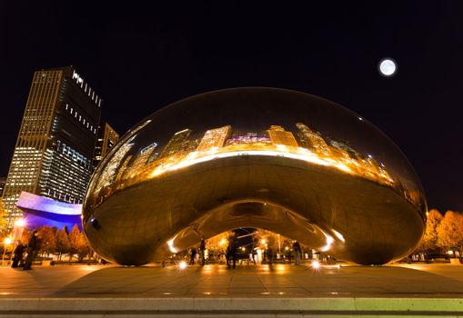 Millennium Plaza in Downtown, Chicago. The amazing night view of the light and reflection of Chicago Skyline