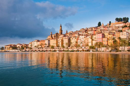 Menton Provence village water reflection