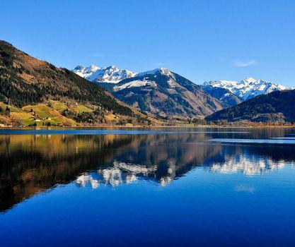 Mountain lake landscape view