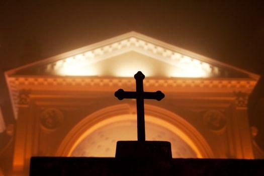 Misty Cross in Wilanow church