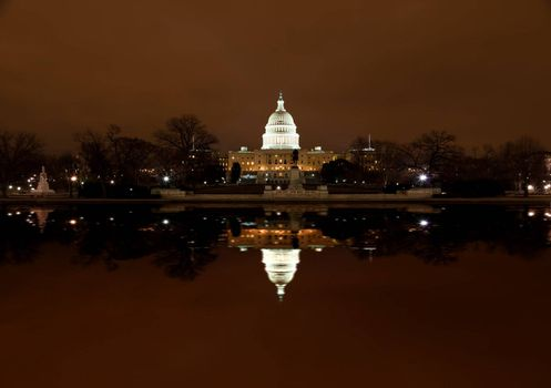 United States Capitol Building at night in Washington DC