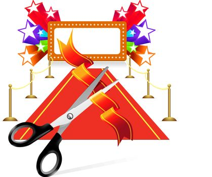 Red carpet with scissors and star background. Vector illustration