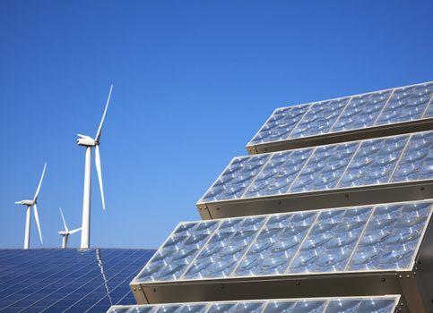 New solar panel and wind turbie