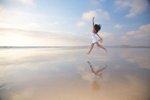 jumping at seashore