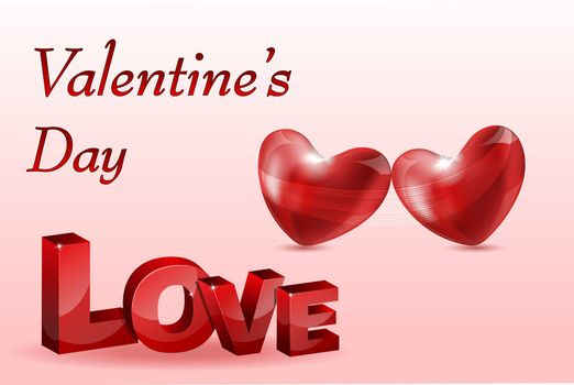 illustration of valentine card with heart on white background