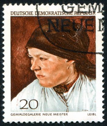 GERMANY - CIRCA 1968: stamp printed by Germany, shows Peasant Woman, by Wilhelm Leibl, circa 1968
