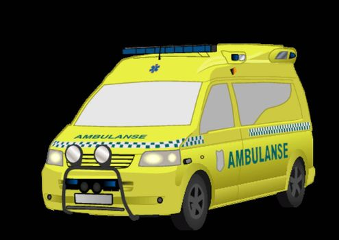 Detailed vector illustration of the new, yellow Norwegian   ambulance.