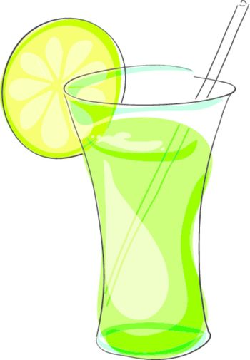 glass goblet with lemon and a straw