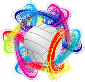 volleyball ball on color background as the concept of an international tournament