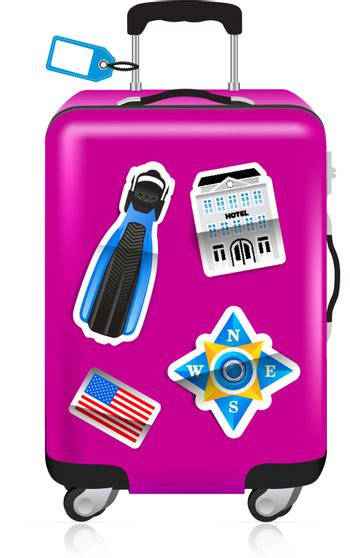 Red suitcase for travel with label and stickers. Vector