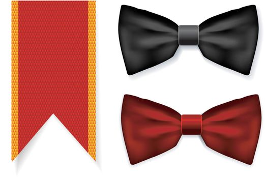 Bow tie and red ribbon with fabric texture. Vector illustration