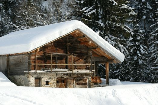 chalet mountain in winter