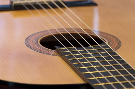 High resolution image.  Classical acoustic guitar. Acoustic musical instrument.