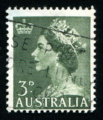 AUSTRALIA - CIRCA 1953: stamp printed by Australia, shows Queen Elizabeth II, circa 1953