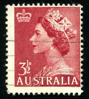 AUSTRALIA - CIRCA 1953: stamp printed by Australia, shows Queen Elizabeth II, circa 1953