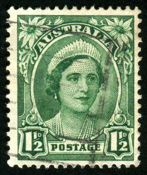 AUSTRALIA - CIRCA 1937: stamp printed by Australia, shows Queen Elizabeth II, circa 1937