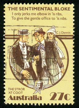 AUSTRALIA - CIRCA 1983: stamp printed by Australia, shows conversation between two men, circa 1983
