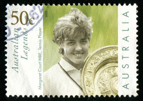 AUSTRALIA - CIRCA 2003: stamp printed by Australia, shows Margaret Court with Wimbledon trophy, circa 2003
