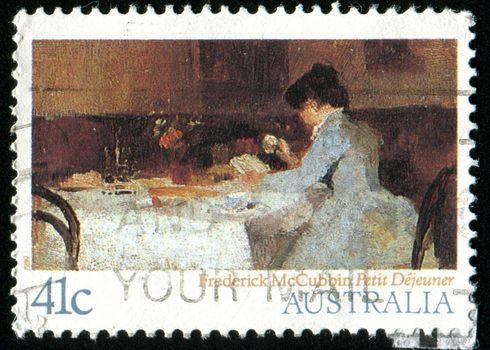 AUSTRALIA - CIRCA 1989: stamp printed by Australia, shows Petit Dejeu ner, by Frederick McCubbin, circa 1989