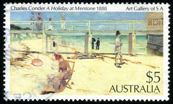AUSTRALIA - CIRCA 1984: stamp printed by Australia, shows Charles Conder - A Holiday at Mentone, circa 1984