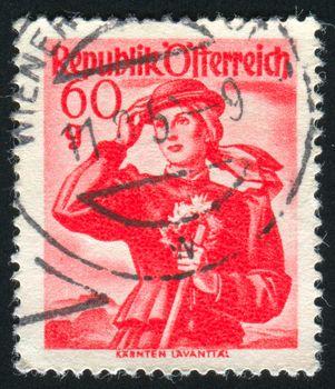 AUSTRIA - CIRCA 1948: stamp printed by Austria, shows Austrian Costumes, Carinthia, Lavant Valley, circa 1948