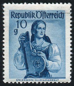 AUSTRIA - CIRCA 1948: stamp printed by Austria, shows Austrian Costumes, Styria, Salzkammergut, circa 1948