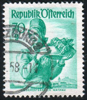 AUSTRIA - CIRCA 1948: stamp printed by Austria, shows Austrian Costumes, Lower Austria, Wachau, circa 1948