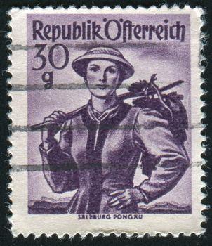 AUSTRIA - CIRCA 1948: stamp printed by Austria, shows Austrian Costumes, Salzburg, Pongau, circa 1948