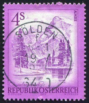 AUSTRIA - CIRCA 1973: stamp printed by Austria, shows Almsee, Upper Austria, circa 1973