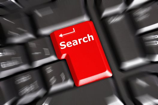 internet search concept with word and key on keyboard