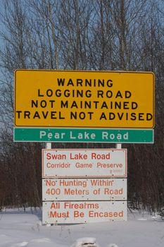 Logging Warning Sign Saskatchewan North