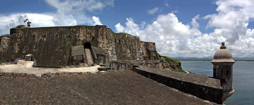 El Morro fort located in Old San Juan Puerto Rico is a popular tourist destination.