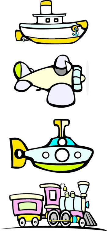 Simple images of a train, submarine, boat and a plane as children's toys.