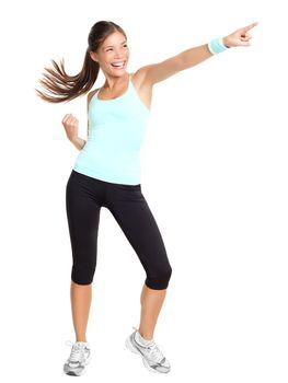 Aerobics fitness woman pointing