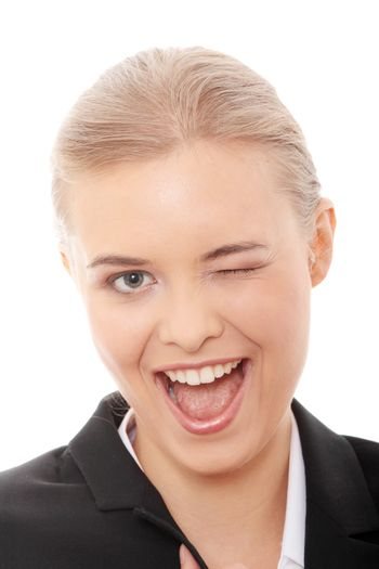 Businesswoman with big smile blinking