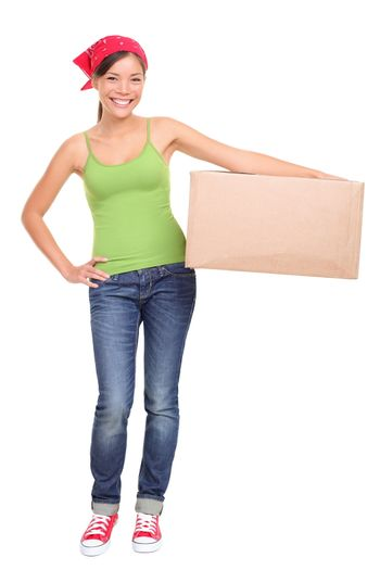 Moving day woman isolated