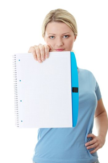 Student woman holding blank copybook