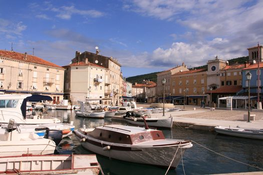 View of the harbor from the town of Cres on the island of Cres in Croatia