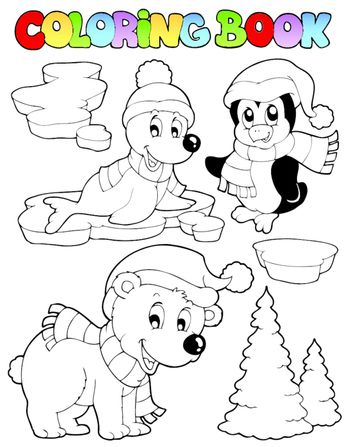 Coloring book wintertime animals 2