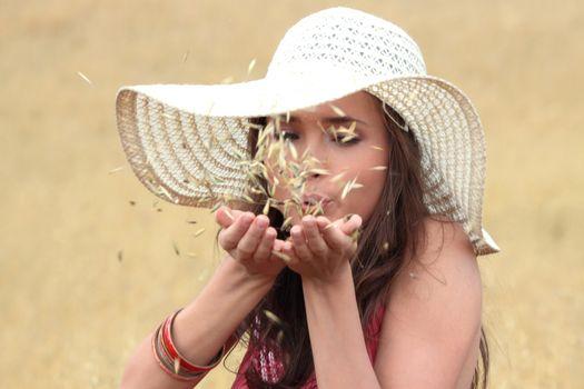 Beautiful woman on farmland