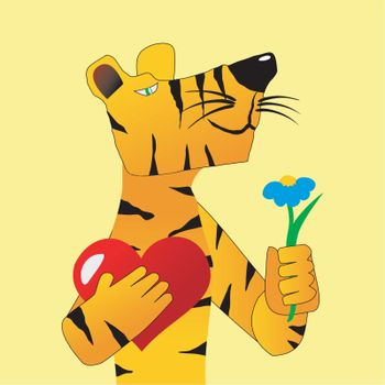 Funny character tiger with a present