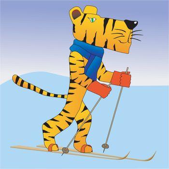 Funny character tiger on ski