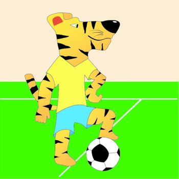 Funny character tiger football player