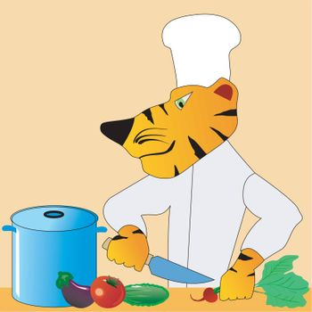 Funny character tiger in the kitchen