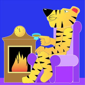 Funny character tiger near a fireplace