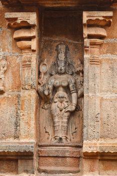 Bas reliefes in Hindu temple. Brihadishwarar Temple. Thanjavur,