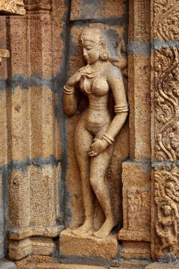 Bas reliefes in Hindu temple. Sri Ranganathaswamy Temple. Tiruch