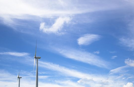 windmill Power generator and summer cloud