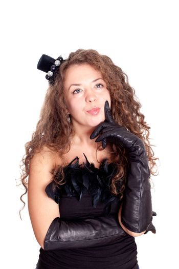 woman in a black dress and gloves