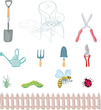 Complete set of gardening objects and insects.